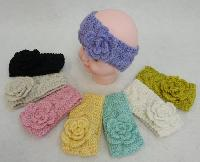 Baby Hand Knitted Ear Band [Cable Knit Loop with Flower]